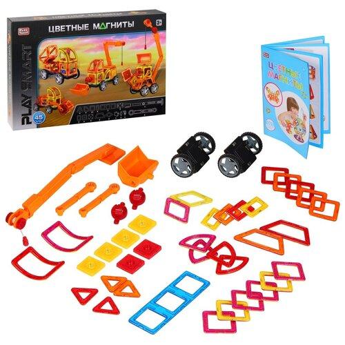 Купить Игрушка детская развивающая PLAY SMART Магнитный конструктор Цветные магниты , игрушка для малышей развивающая, развивает мышление, память, моторику, воображение, (в комплекте 45 деталей), в/к 55х8х37 см, Развивающие игрушки