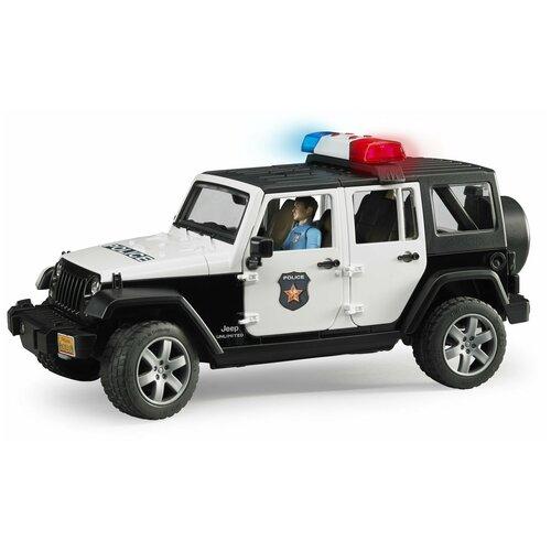 Купить Внедорожник Bruder Jeep Wrangler Unlimited Rubicon Полиция, с фигуркой (02-526) 1:16, 31 см, черный/белый, Машинки и техника