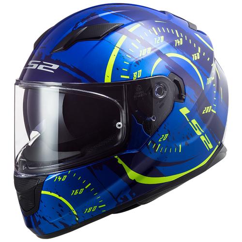 Шлем LS2 FF320 STREAM EVO Tach gloss blue hi-vis yellow (XXL, Gloss Blue Hi-viis Yellow)