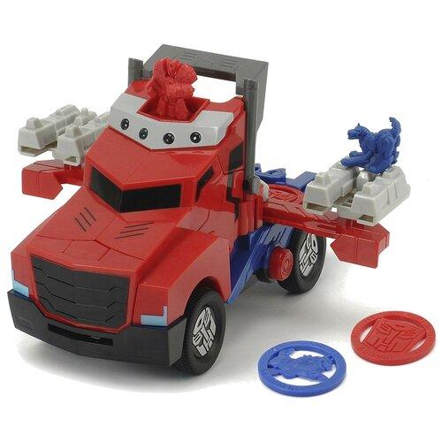 dickie toys машинка трансформер боевой трейлер optimus prime Грузовик Dickie Toys Трансформеры Боевая машинка Optimus Prime (3116003), 23 см, красный/синий