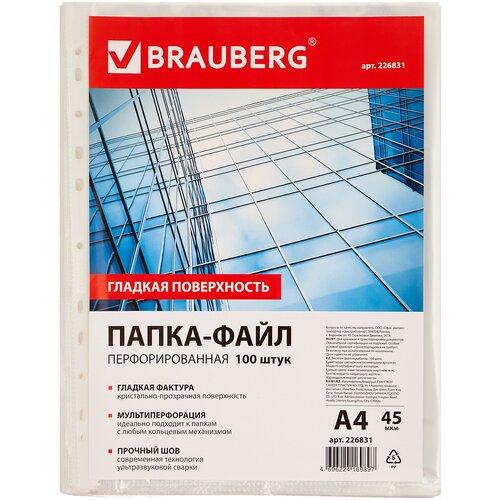 Купить BRAUBERG Папка-файл перфорированная гладкая А4, 100 шт., 45 мкм прозрачный, Файлы и папки