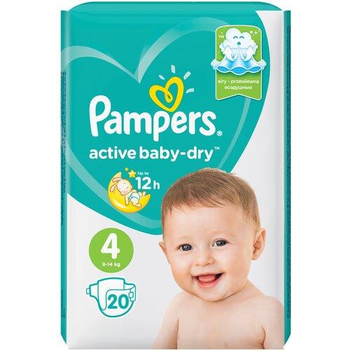 Купить Pampers подгузники Active Baby-Dry 4 (9-14 кг), 20 шт., Подгузники