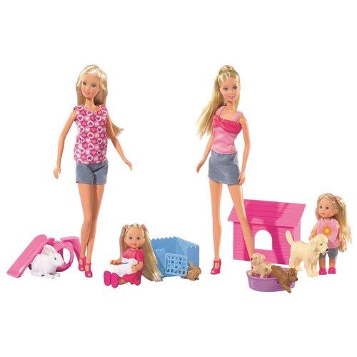 Фото - Набор кукол Steffi Love Штеффи и Еви со зверушками, 29 см, 5732156 набор кукол steffi love штеффи с новорожденным 29 см 5730861