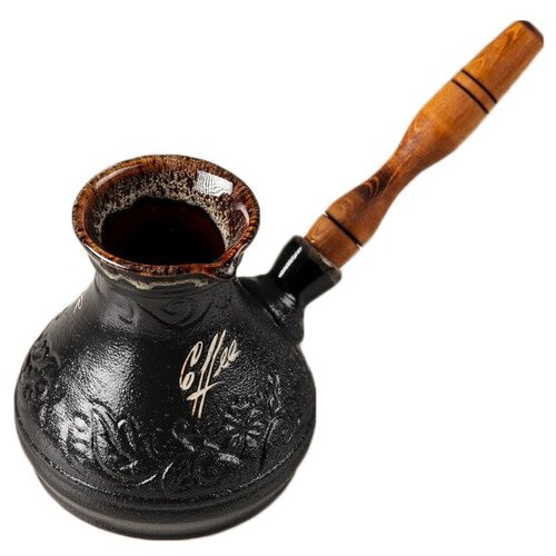 Турка Керамика ручной работы Лотос (300 мл), черный турка керамика ручной работы лотос 300 мл черный