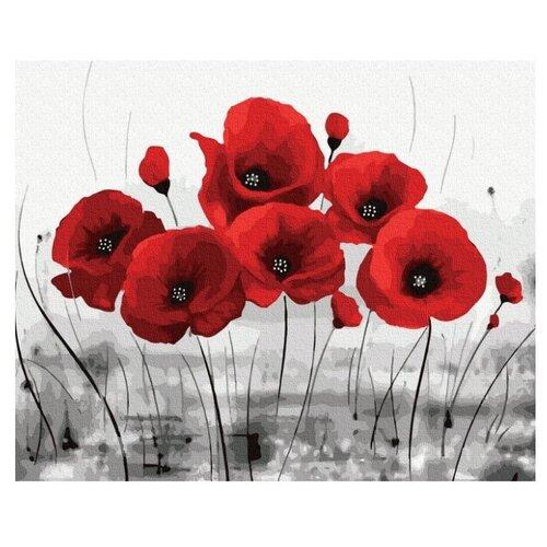 Купить Molly Картина по номерам Красные маки на сером фоне , 40х50 см (KH0928), Картины по номерам и контурам