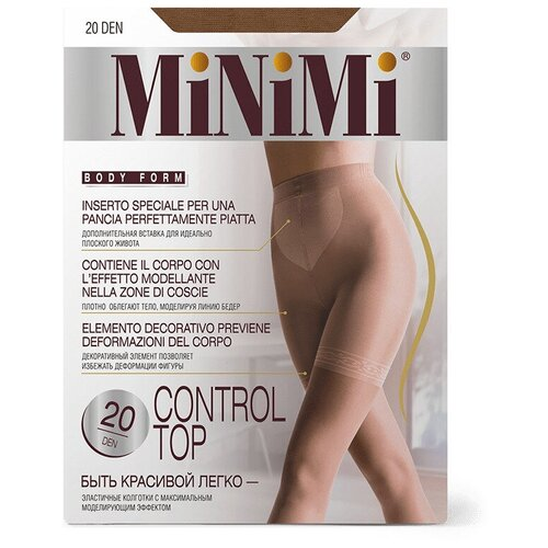 Фото - Колготки MiNiMi Control Top, 20 den, размер 3-M, daino (коричневый) колготки minimi slim control 40 den размер 3 m daino бежевый
