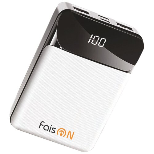 Аккумулятор внешний FaisON FS-PB-910 Classic 10000mAh пластик дисплей 2 USB выхода 2.1A цвет: белый