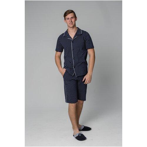 NEW LIFE / Пижама мужская из хлопка / бриджи + рубашка / 46 / чернильный