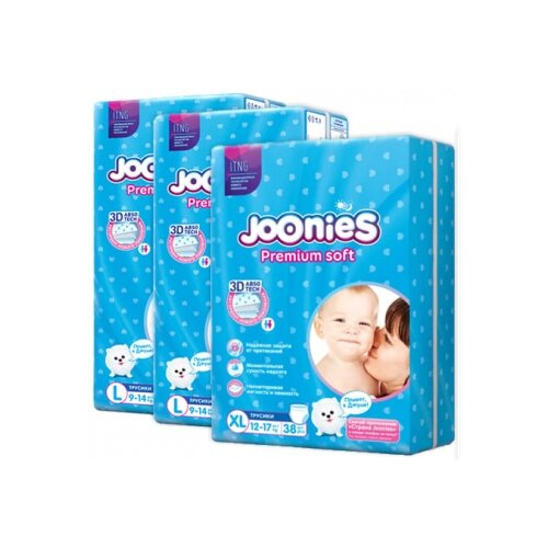 Joonies трусики Premium Soft L (9-14 кг) 2x44 шт + трусики Premium Soft XL (12-17 кг) 38 шт., 3 уп. трусики unik 3 шт