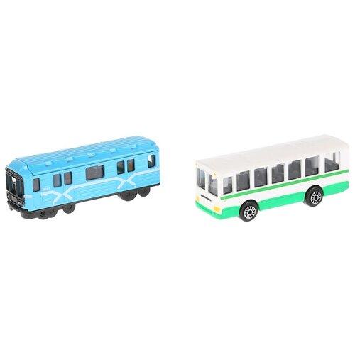 Фото - Набор машин ТЕХНОПАРК Городской транспорт (SB-15-06-BLС), 7.5 см, голубой/зеленый автобус технопарк городской sb 16 57wb 15 см желтый