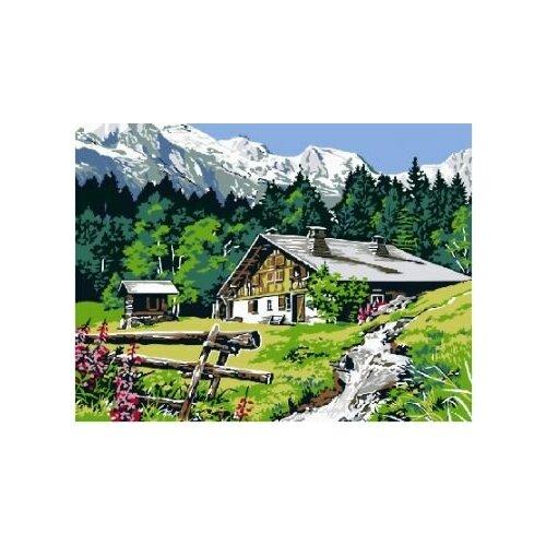 Купить Картина по номерам Paintboy «Домик в предгорье» (холст на подрамнике, 30х40 см), Картины по номерам и контурам