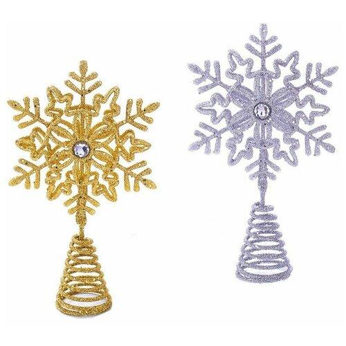 Фото - Ёлочная верхушка для маленькой ёлки искристая снежинка, пластик, 13 см, разные модели, Kurts Adler ёлочная игрушка кошечка делфтский фарфор 10 см разные модели kurts adler j0936