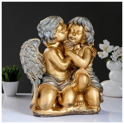 Фигура Ангел и Фея сидя большой бронза/серебро 24х35х41см фигура игуана 23х46х27см бронза серебро