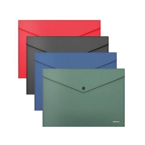 Папка-конверт на кнопке пластиковая ErichKrause Fizzy Classic, непрозрачная, А4, ассорти 50179 недорого