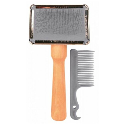 Набор: щетка-пуходёрка мягкая с деревянной ручкой 13х6 сантиметров +расчёска