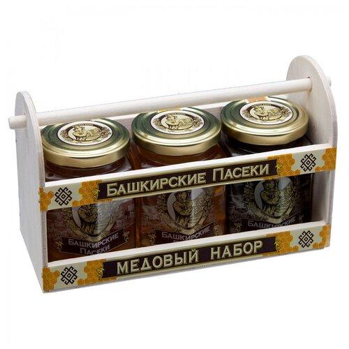 Медовый подарочный набор, Ларец 3х250 г (цветочный, липовый гречишный)