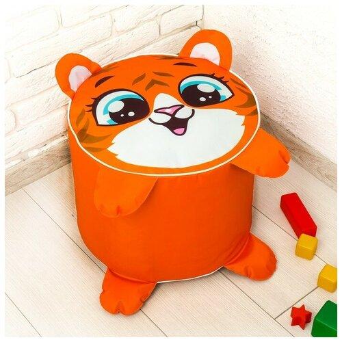 ZABIAKA Игрушка-пуфик «Тигр», мягкая, 40 × 40 см, цвет оранжевый