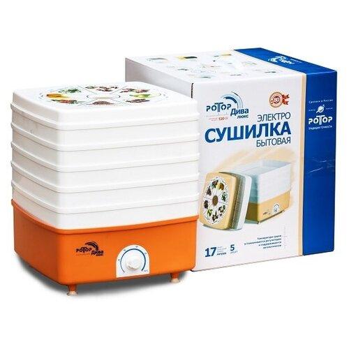 Сушилка для овощей и фруктов Ротор-Дива-Люкс СШ-010 5 поддонов, цветная упак., квадратная