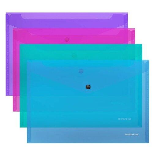 Папка-конверт на кнопке пластиковая Glossy Vivid, полупрозрачная, FC, ассорти недорого
