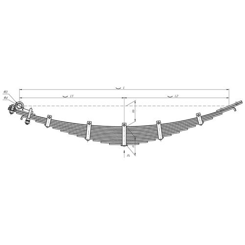 Передняя рессора ЗиЛ 131 без лебедки 13-листовая