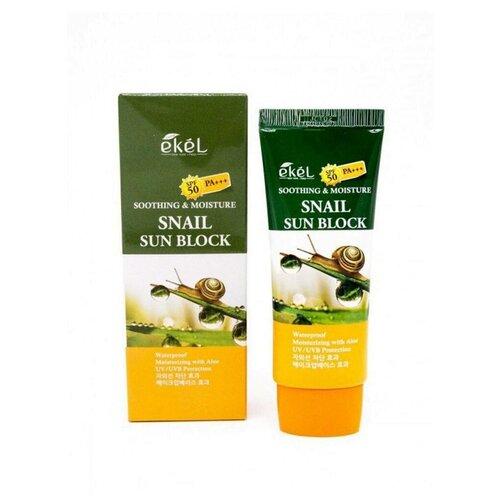 Фото - [EKEL] Солнцезащитный увлажняющий крем с муцином улитки, Soothing & Moisture Snail Sun Block 70 мл. ekel солнцезащитный крем с коллагеном soothing and moisture collagen sun block spf50 70 мл