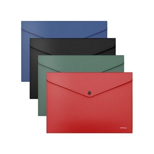 Папка-конверт на кнопке пластиковая ErichKrause Diagonal Classic, непрозрачная, A4, ассорти 50296 недорого