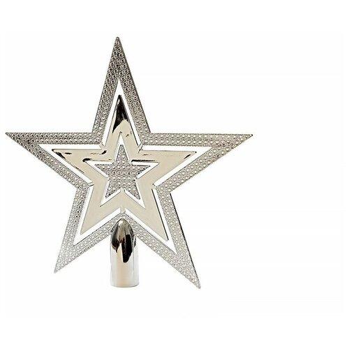 Верхушка елочная из пластика сверкающая звезда, серебряая, пластик, 20 см, Kaemingk 029997