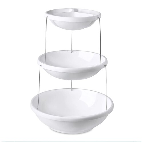 Фруктовница менажница трёхъярусная, этажерка, 28х28х8 см, цвет белый, Kitchen Angel KA-BOWL1-03 недорого