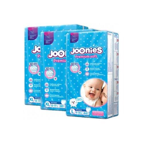 Joonies трусики Premium Soft L (9-14 кг) 44 шт + трусики Premium Soft XL (12-17 кг) 2x38 шт., 3 уп. трусики unik 3 шт