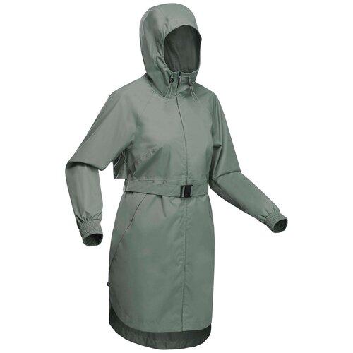 Куртка водонепроницаемая длинная для походов на природе женская Raincut Long, размер: 3XL, цвет: Хаки QUECHUA Х Декатлон