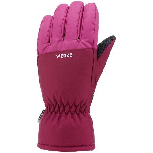 Перчатки лыжные детские розовые 100 WEDZE Х Decathlon Лиловый/Тёмно-Пурпурный 14
