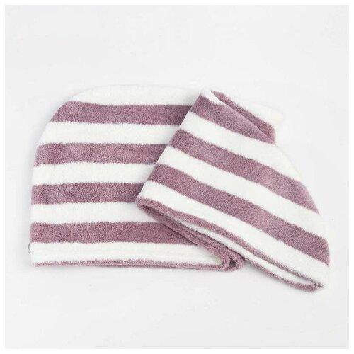 Купить Чалма для сушки волос Этель Полоски цв.фиолетовый, 65*25 см, 100% п/э 6897201