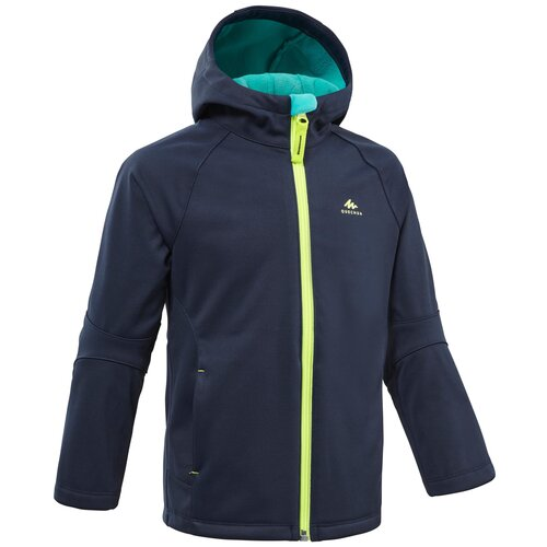 Куртка софтшелл походная MH550 детская 2–6 лет, размер: 103-112 CM 4-5, цвет: Синий Графит/Туркуаз QUECHUA Х Декатлон