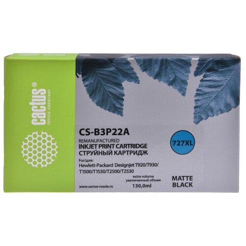 Фото - Картридж струйный Cactus №727 CS-B3P22A черный матовый (130мл) для HP DJ T920/T1500/T2530 картридж струйный cactus 727 cs b3p20a пурпурный 130мл для hp dj t920 t1500 t2530