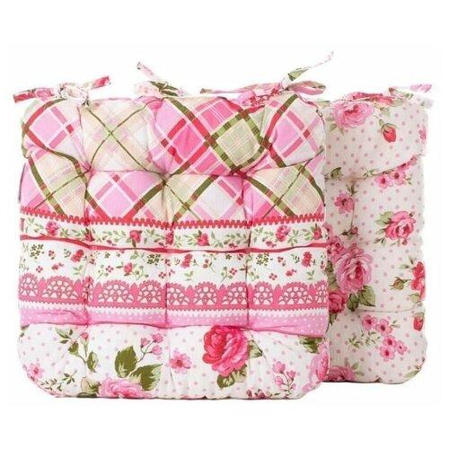 Подушки на стулья с завязками из рогожки и поролоновой крошки, 2 шт, 40х40 см, розовый