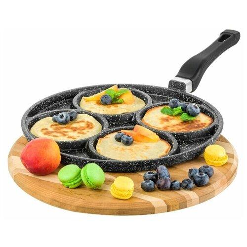 Сковорода для оладий 26 см Гармония вкуса Elan Gallery Черный мрамор, несъёмная ручка сковорода d 24 см kukmara кофейный мрамор смки240а