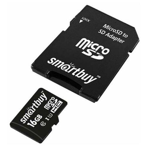 Фото - Карта памяти microSDHC SmartBuy 16 ГБ Class 10 с SD адаптером карта памяти smartbuy micro sd 256 гб