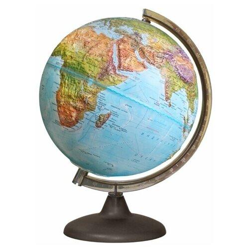 Глобус Географический рельефный с подсветкой от батареек, диамтер 250 мм, 16044