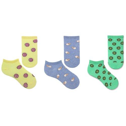 Купить Носки НАШЕ комплект 3 пары размер 22 (20-22), ментол/голубая дымка меланж/св.жёлтый