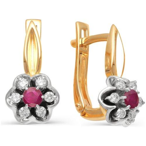 АЛЬКОР Серьги Цветы с рубинами, бриллиантами из красного золота 585 пробы 21854-103 серьги из красного золота 585 пробы с нанокристаллом топазом