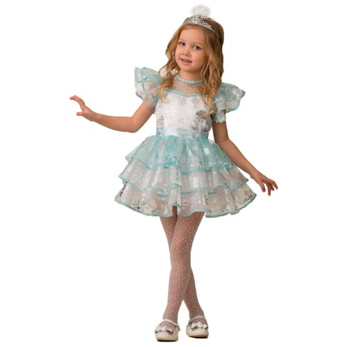 Купить Костюм Батик Jeanees Снежинка Снежана (5238), белый/голубой, размер 134, Карнавальные костюмы