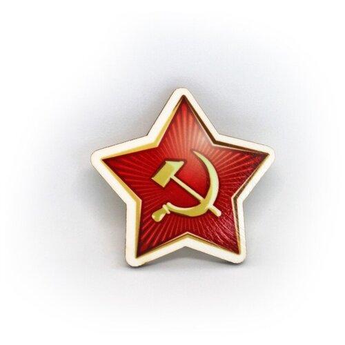 Значок деревянный PaperFox Звезда красная армия, пин бижутерия, брошь женская, детская для девочки, мальчика. Подарок сувенир женщине, другу, парню, маме, подруге, на день рождения коллеге, девушке, студенту, любимому мужу, на 9 мая. Красный 33 Х 33 мм.