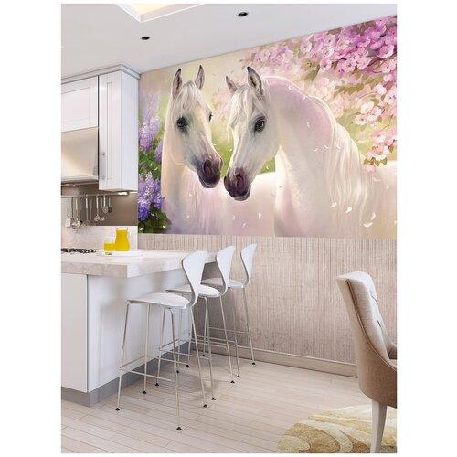 Фотообои Белые лошади на фоне сиреневых и розовых цветов/ Красивые уютные обои на стену в интерьер комнаты/ Детские для девочки/ В детскую спальню/ размер 250х129см/ Флизелиновые