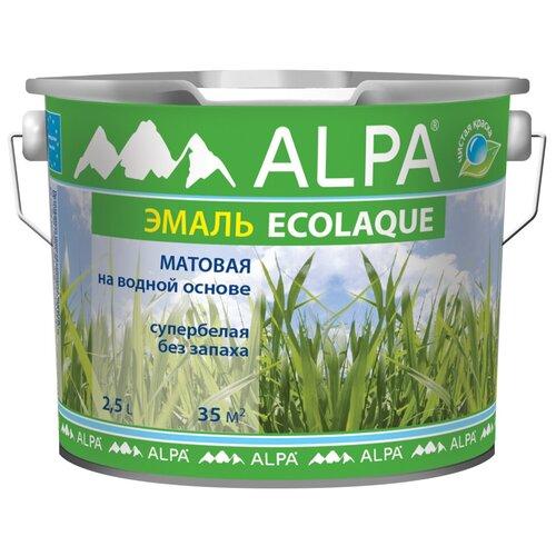 Эмаль акриловая (АК) Alpa Ecolaque матовая супербелая 2.5 л