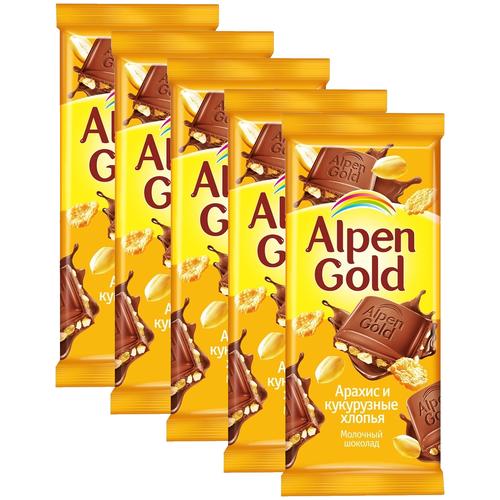 alpen gold шоколад молочный с соленым арахисом и крекером 5 шт по 85 г Alpen Gold Шоколад молочный с арахисом и кукурузными хлопьями, 5 шт по 85 г