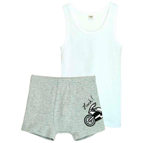 Купить Комплект нижнего белья Let's Go размер 152-158, белый/серый меланж, Белье и пляжная мода