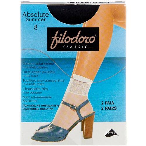 Капроновые носки Filodoro Classic Absolute Summer 8 Den, 2 пары, размер one size, nero