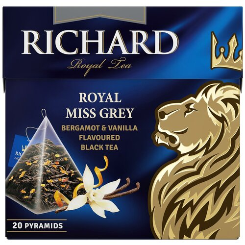 Чай черный Richard Royal miss grey в пирамидках, 20 шт. чай richard royal advent calendar ассорти в пирамидках подарочный набор 25 шт