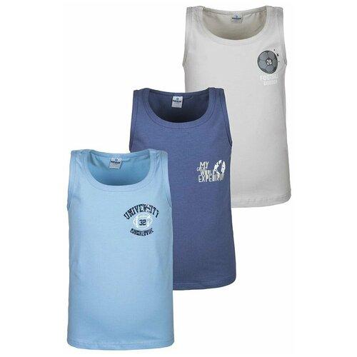 Купить Майка BAYKAR 3 шт., размер 110/116, серый/голубой/синий, Белье и пляжная мода