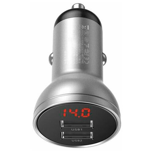 Фото - Автомобильное зарядное устройство Baseus Digital Display Dual USB 4.8A 24W (CCBX-0S), серебристое автомобильная зарядка baseus digital display dual usb 4 8a 24w car charger vcbxa ccbx 0g ccbx 0s